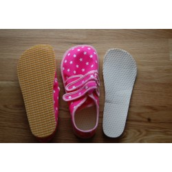 Beda barefoot světle růžové s hvězdami vycházkové tenisky stélka