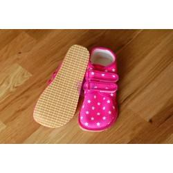 Beda barefoot světle růžové s hvězdami vycházkové tenisky podrážka