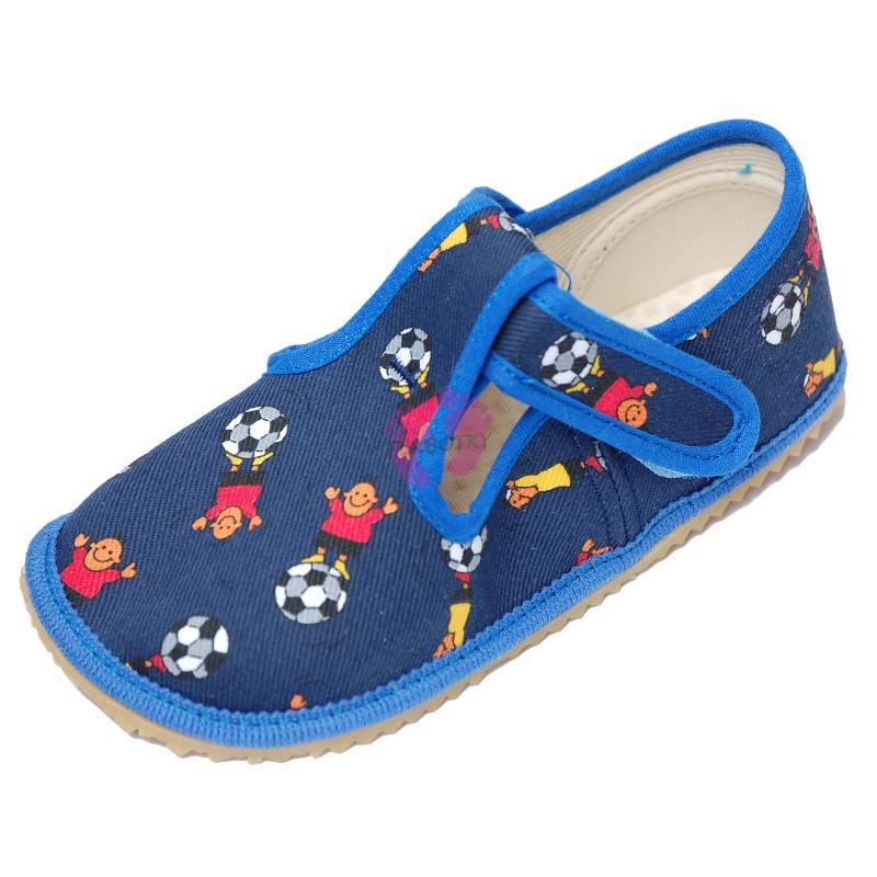 Beda barefoot papučky Modrý fotbal