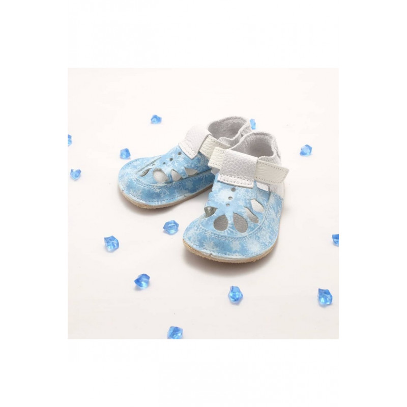 Baby Bare Shoes Snowflakes Top Stitch