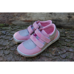 Baby Bare Shoes Febo Sneakers Grey/Pink stíraná podešev