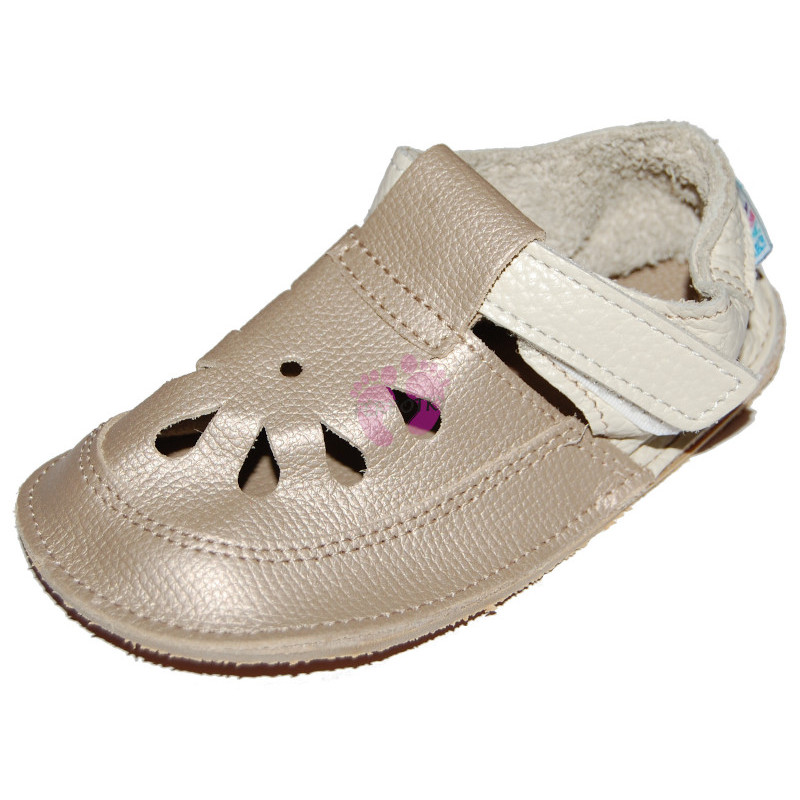 Baby Bare Shoes Gold Top Stitch