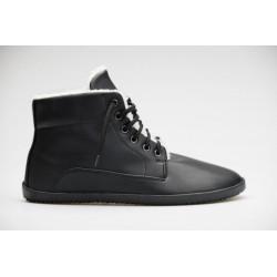 Zimní barefoot boty černé Ahinsa shoes, vegan